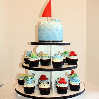 Nautical Baby Shower Cupcake Tower - Cake by Prima Cakes and Cookies - Jennifer