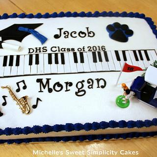 Music and Golf Themed Graduation Cake