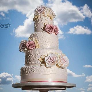 Blush Pink Vintage Lace and Dusky Pink Rose Wedding Cake - Cake by Samantha Tempest