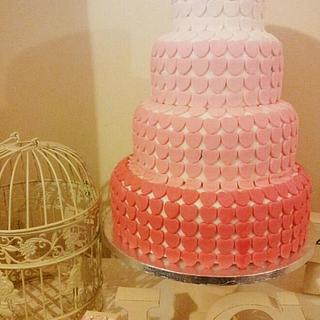 Gradient Heart Wedding Cake