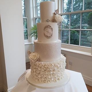 4 tier ivory wedding cake