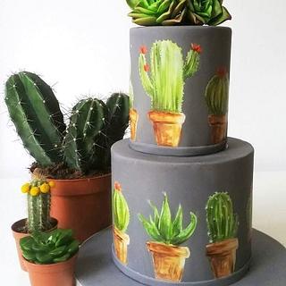 Painted Cactus Cake