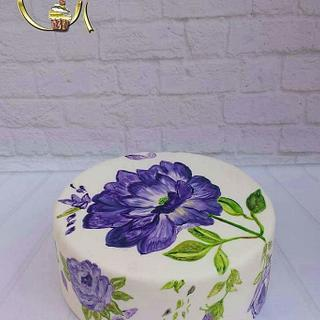 Handpainted flowers cake