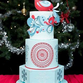 Peacock Christmas Wedding cake - Cake by Natasha Shomali