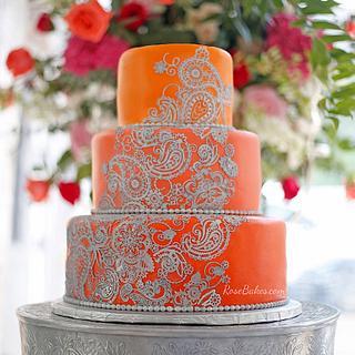 Orange & Silver Mehndi Henna Cake
