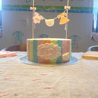 Pastel Colours Girl Baby Shower Cake