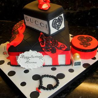 Ladies Birthday Cake in red, black and white