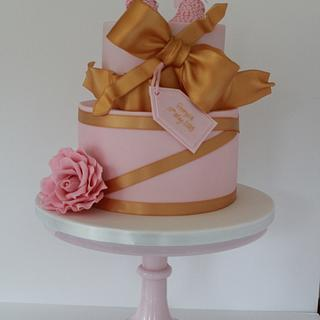 Baby shoe pink and Gold cake