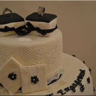 SugarLace Engagement Cake