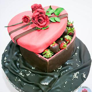 Heart Gift Box Cake with Chocolate Coated Strawberries