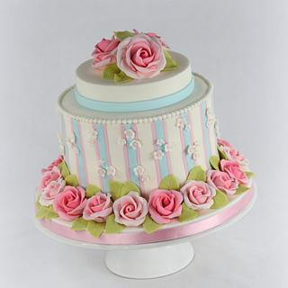 Striped Cake with Gumpaste Roses