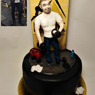 Personal trainer cake with realistic figure