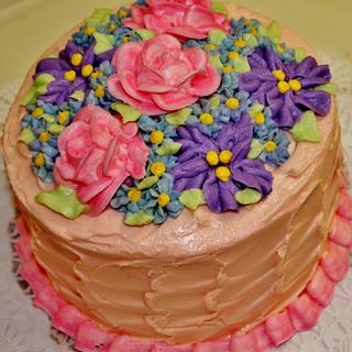 buttercream summer flower cake