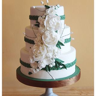 Emerald Green and White Wedding Cake