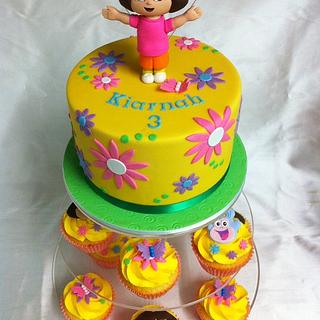 Simple n Sweet Dora cake (with matching cupcakes)
