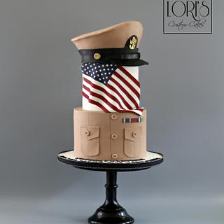 Navy Khaki Ball Cake