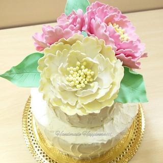 Pretty pastel peonies - Cake by Handmade Happiness
