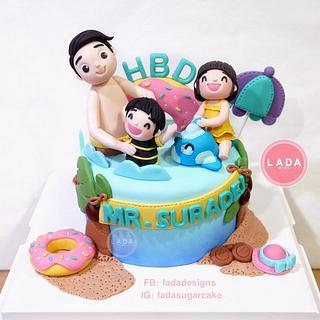 Happy family birthday cake