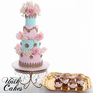Marie Antoinette baby shower cake and cupcakes - Cake by Masha Lipkovsky