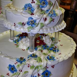 100% buttercream wedding cake - Cake by Nancys Fancys Cakes & Catering (Nancy Goolsby)