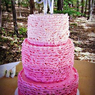 Ombre Buttercream Ruffle Cake