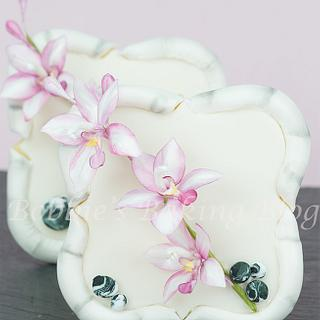 Fondant Bamboo Sugar Cookie and Flower Paste Asian Orchid Spray