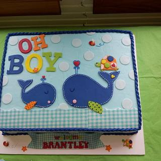 """Oh Boy"" Baby Shower Cake"