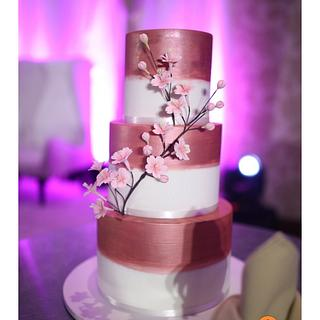 Rose gold Cherry Blossoms Wedding Cake