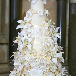 7 Tier Lily & Rose Wedding Cake - Cake by Sada Ray