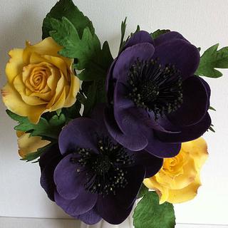 Sugar Anemones & Yellow roses  - Cake by Anne Cutajar-Wagner