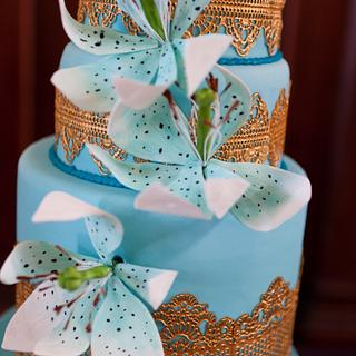 Turquoise and gold lace