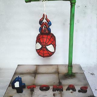 Hanging Spiderman cake - Chibi style