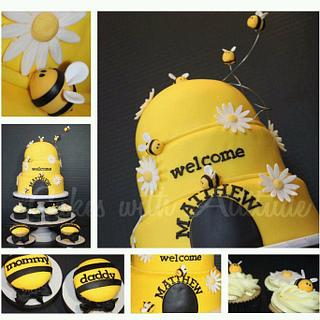 Bumble Bee Baby Shower - Cake by Viviana & Guelcys
