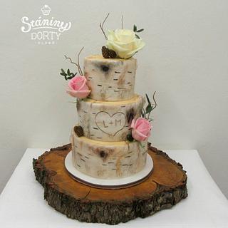 Wedding cake - birch bark