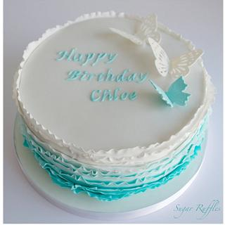 Turquoise Ombre Butterfly Cake