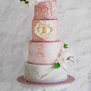 Rose gold wedding cake  - Cake by Archana