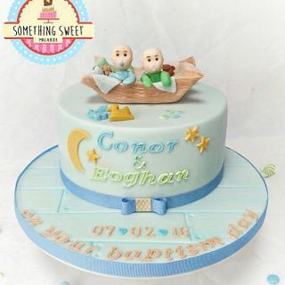 Twin boys Christening Cake & Treats