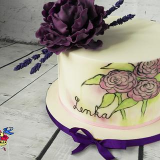 Violet cake with peony lavenders and painted flowers