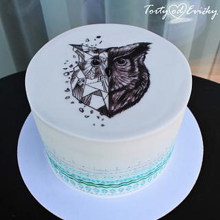Painted owl cake