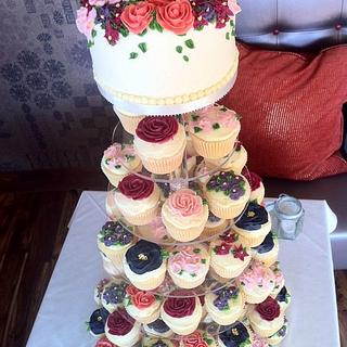 piped flower wedding tower