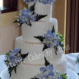 Rustic Wedding with Fresh Hydrangea - Cake by Creative Cakes by Chris