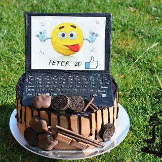 Chocolatte cake with notebook