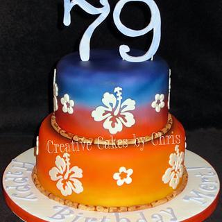 Hawaiian Theme 79th Birthday - Cake by Creative Cakes by Chris