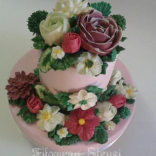 Meringue buttercream flower cake 2