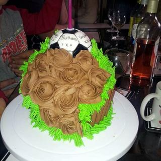 giant football cupcake
