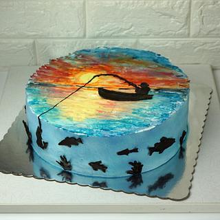 Sunset fishing - Cake by Dragana