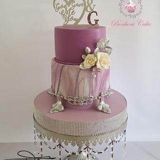 Mauve engagement cake