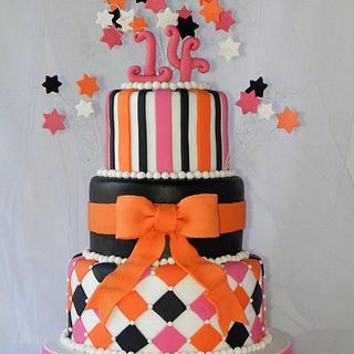 Orange, pink and black cake
