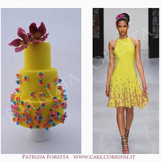 Fashion cake yellow and flower