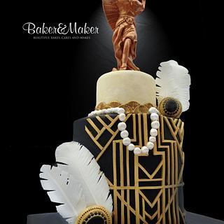 Art Deco Bronze Figure Double Barrell Cake